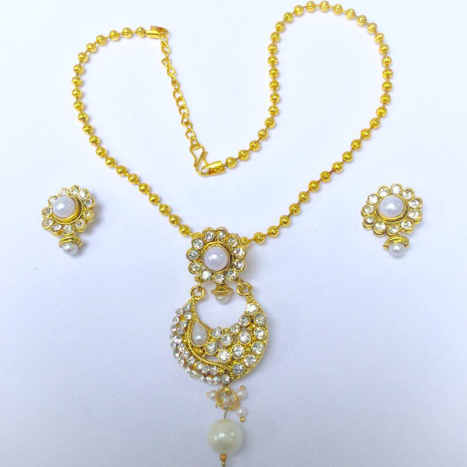 Gold Plated Necklace Earrings Set Indian Traditional: Indian Gold Plated Traditional Necklace & Earrings, Temple